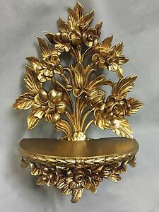 Wandkonsole Barock Gold /Spiegelkonsolen/Wandregal /Deko H35 Blumen cp82
