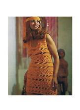 "Ladies Summer Retro Mini Dress and Headband Crochet Pattern PATTERN ONLY 31-40"""