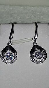 925 STERLING SILVER RHODIUM PLATED MOVING STONE DROP DANGLE SAPPHIRE EARRINGS