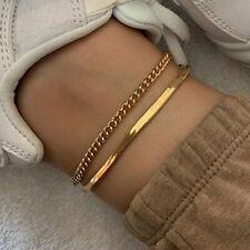 Women Bracelet Foot Beach Holiday Hot 2pcs/set Summer Gold Snake Chain Anklets