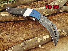 Kukri Folding Damascus steel Knife, Leather sheath, Goat horn & steel scale