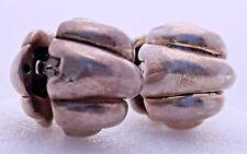 Sterling Silver Vintage Handmade Shell Scalloped Clip On Artisan Made Earrings