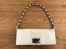KOOBA white patent leather silver hardware Clutch Shoulder bag Removable chain