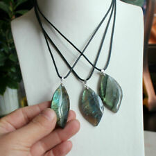 1PC Natural Labradorite Quartz Crystal Pendant Polished Reiki Healing Gift DIY