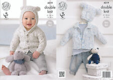 King Cole Double Knitting Pattern Baby Cardigans Hat Easy Knit Smarty DK 4319