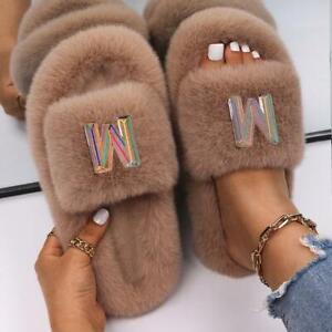 Fashion Slippers Women Designer Letter Decor Faux Fur Slides Home Fluffy Female