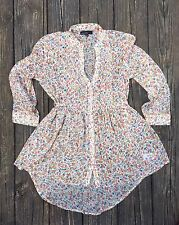 Weavers Button Down Floral Blouse 3/4 Length Tabbed Sleeves Hi-Lo Sheer XS