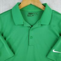 NIKE GOLF DRI-FIT Size Medium Mens Polo Shirt Wicking Stretchy Green Breathable