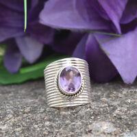925 Sterling Silver Amethyst Gemstone Designer Ring US Variation Jewelry