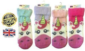 New Women's Luxury Soft Cosy Unicorn Design Brushed Inner Xmas Warm Bed Socks