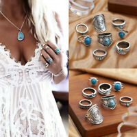 Bohemian Vintage Women Silver Turquoise Knuckle Finger Rings Punk Ring Gift