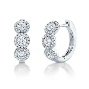 Diamond Huggie Earrings 14K White Gold Hoop Round Cut Natural 1.10 TCW Halo