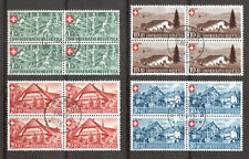 1945, Pro Patria, Viererblocks gestempelt
