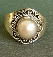 Sterling Silver Handmade Ethnic Asian Vintage Style Pearl Ring Size O 1/2 Gift