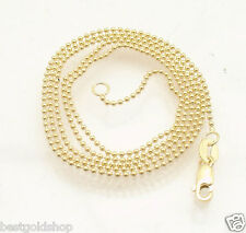1mm All Shiny Round Bead Ball Chain Necklace REAL Solid 14K Yellow Gold
