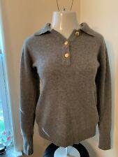 Charter Club Gray Wool Angora Blend Collared Sweater Gold Button, Womens Medium