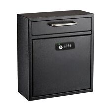 AdirOffice Black 12 x 10 in Drop Box Wall Mounted Mail Box W/Key and Combination
