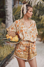 Spell & the Gypsy Seashell Boho Romper Floral Playsuit in Sand size L UK 14/16
