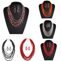Fashion BOHO Jewelry Set Chain Bead Choker Chunky Statement Bib Necklace Earring