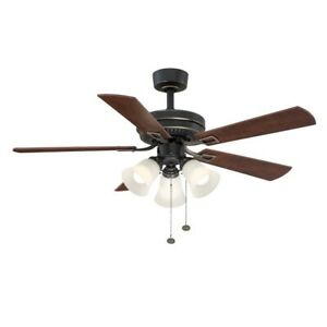 Hampton Bay Sinclair 44 in. Tarnished Bronze Ceiling Fan with light