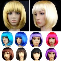 Lady Girl Bob Wig Short Straight Bangs Full Wigs Women's Cosplay Party Hair Gift