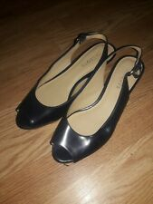 Talbots Navy Leather Slingback Open Toe Wedge Espadrille Sandals Heels 8.5 AA