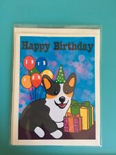 Tricolored Corgi Birthday Card, Blank Pembroke Welsh Corgi Birthday Card