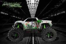 "TRAXXAS X-MAXX GRAPHICS WRAP DECALS ""LUCKY"" GREEN & WHITE EDITION FOR OEM BODY"