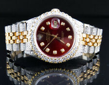 Rolex 18K/ Steel Two Tone Datejust 36MM 16013 Red Dial Diamond Watch 12.5 Ct