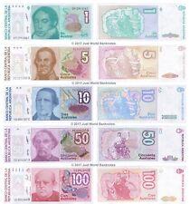 Argentina 1 + 5 + 10 + 50 + 100 Australes Conjunto de 5 billetes de 5 Piezas UNC