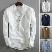 Men's Linen Slim Fit Henley T-shirt Tops Long Sleeve Casual Button Smart Shirts