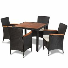 5pcs Dining Set Rattan&Wicker/Acacia Wooden Top Table 4 Chairs Outdoor Furniture