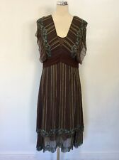 KAREN MILLEN BROWN,TURQOISE & YELLOW EMBROIDERED V NECKLINE DRESS SIZE 14