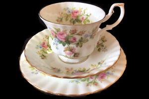 Royal Albert MOSS ROSE 3pc Trio Tea cup, saucer, plate EC England 1st c1970's