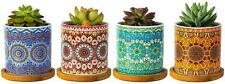 Mandala Planters Flower Pots Drainage Hole and Bamboo Trays Colorful Ceramic 4pc