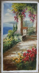 """Art Impressionism oil painting on canvas landscape garden hand-painted 24x48"""""""