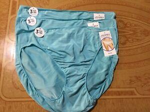 Jockey No Panty Line Promise Aqua Bikini-Set of 3- Size 8-NWT