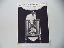 advertising Pubblicità 1930 DITTA VIGNATI MENOTTI - RADIO CROSLEY - LAVENO