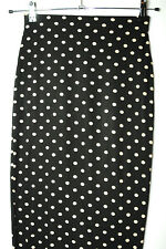 BLACK BEIGE SPOTTY LADIES CASUAL STRETCH BODYCON SKIRT SIZE 6 DOROTHY PERKINS