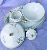Paragon Fine China Serving Set With Sugar Bowl. White And Gold. Japan Made