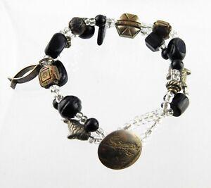 Handmade Southwestern Button Clasp Beaded Charm Bracelet Sterling Silver Fish