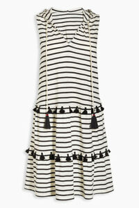 bnwt NEXT DRESS UK 6 Eur34 WHITE BLACK STRIPED POM POM DETAIL HOOD BEACH SUMMER