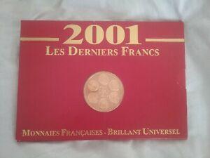 France - Coffret Brillant Universel 2001 Les derniers Francs. Numéroté.
