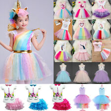 Kids Girl Baby Unicorn Princess Birthday Party Tutu Tulle Dresses Fancy Costume