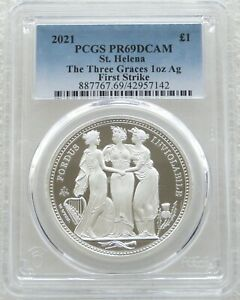 2021 Three Graces £1 One Pound Silver Proof 1oz Coin PCGS PR69 DCAM First Strike