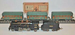 LIONEL PREWAR 262  LOCO, 262T TENDER & 3-607 PULLMAN CARS (1TATTERED BOX)O GAUGE