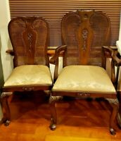8 Carved Wood Queen Anne Style Dining Chairs Cane Back Cabriole Leg Pad Foot