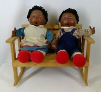 Black Americana Vintage Homemade Raggedy Ann And Andy Dolls With Bench Handmade