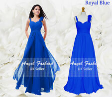 Formal Chiffon Long Evening Ball Gown Party Prom Wedding Bridesmaid Dress UK Royal Blue 16 - 18