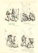 1840 VICTORIAN PRINT ~ SCENES IN LONDON Nos. 9 to 12 ~ HENRY HEATH CARICATURE